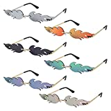 6 Pairs Flame Sunglasses Cheap Rimless Wave Glasses Fashion Fire Flame Sunglasses for Women Men Teen Girls with Screwdriver