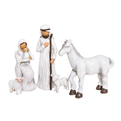 Nativity Set, Sculted Hand-Painted Figurines, 5pc Set