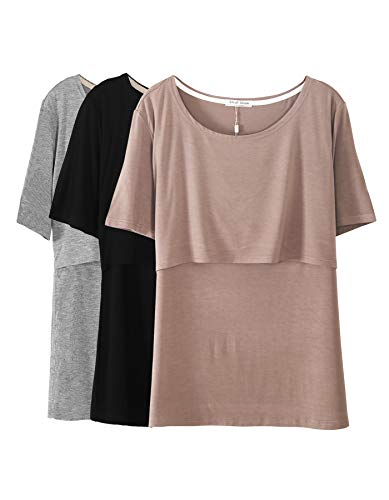 Smallshow 3 Pcs Maternity Nursing T-shirt Modal Short Sleeve Nursing Tops Brown/Black/Grey,Medium