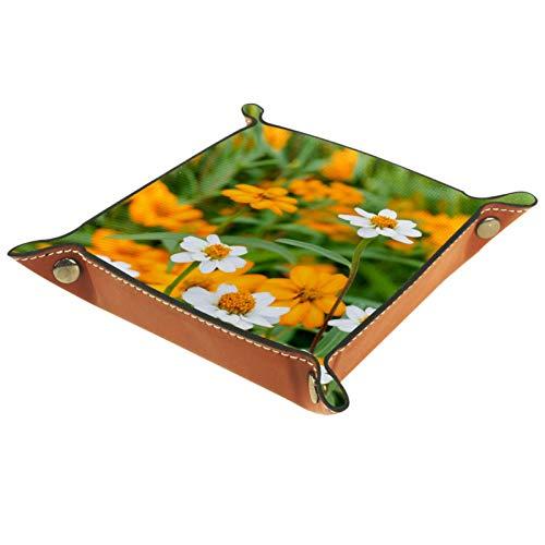 rodde Bandeja de Valet Cuero para Hombres - Hermosas Flores Color Naranja - Caja de Almacenamiento Escritorio o Aparador Organizador,Captura para Llaves,Teléfono,Billetera,Moneda