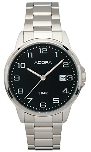 Herrenuhr Armbanduhr Analoguhr Edelstahluhr mit Faltschließe Adora 29402, Variante:02