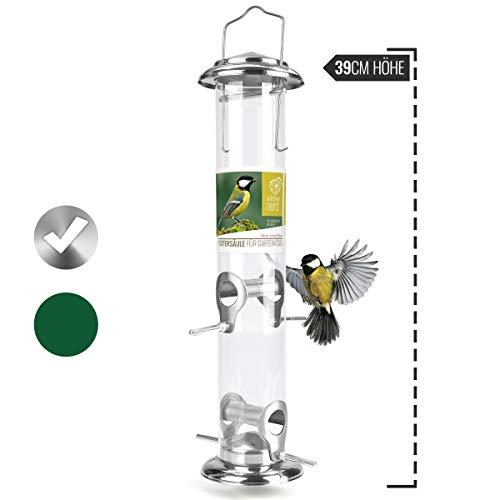wildtier herz | Körner-Futterspender 39cm - für Vögel aus Edelstahl mit Anflugsplätzen, Futtersäule für Vogelfutter, Futterstation für die ganzjährige Fütterung von Wildvögel (Silber)