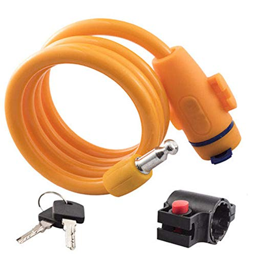 Slot, diefstalbeveiliging, fietsslot, staalkabelspoel voor fiets, motorfiets, fiets, MTB, veiligheidsslot met houder oranje