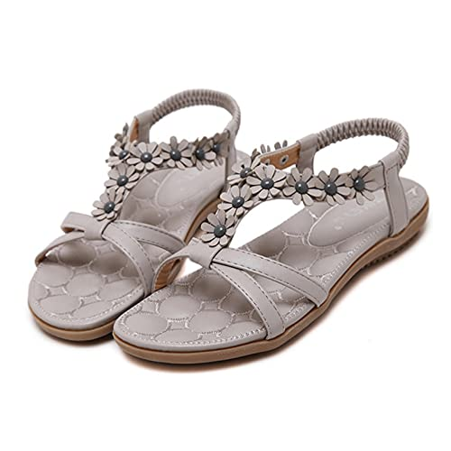 Mujer Sandalias Planas Verano Bohemia Estilo Flor Tobillo Correa Elástica de Playa Elegantes Chanclas Damas Zapatos,Gris,39
