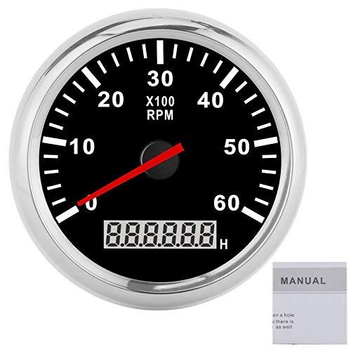 Tacómetro para coche, barco, yate, tacómetro, 6000RAM, retroiluminación roja, pantalla LCD, 85 mm, resistente al agua, 12 / 24V(Black Dial White Frame)