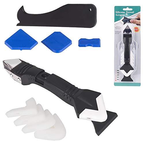 3-in-1 Silikon-Abdichtungswerkzeug (Edelstahlkopf), Dichtmittelentferner, Finishing-Werkzeug, Dichtstoff Fugenschaber, Wiederverwendung und Ersatz 5 Silikon-Pads für Küche, Badezimmer, Fenster, Spüle