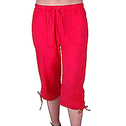 EyeCatchClothing Oregon Frauen Capri Crop Shorts Hosen Damen 3/4 Dreiviertelhose Rot Gr. X-Large