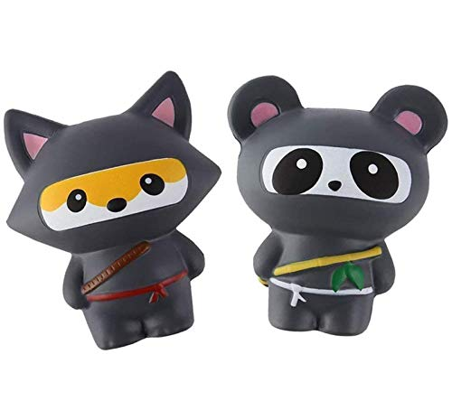 Anboor 2 PCS Squishies Ninja Jumbo Panda y Fox Slow Rising Squishies Kawaii Perfumados Juguetes de Animales Suaves