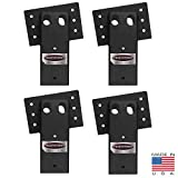 4x4 Elevator Brackets for Deer Blinds, Playhouses, Swing Sets, Tree Houses. Made in The USA with Premium Construction Grade Steel. (1 Set of 4) (E1088), Black
