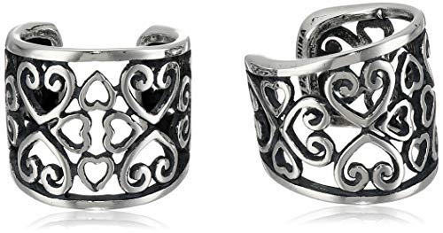 Sterling Silver Oxidized Celtic Heart Knot Ear Cuffs