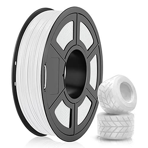 Filamento TPU 1.75mm, SUNLU TPU Filamento Impresora 3D, Flexible Filamento 1.75, Precisión Dimensional +/- 0.03mm, 0.5kg Spool, 1.75 TPU Blanco