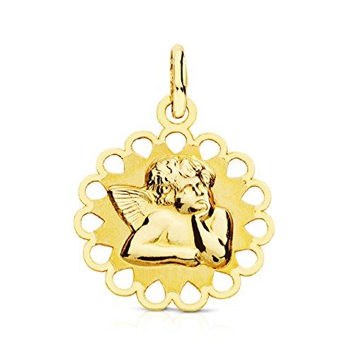 Alda Joyeros Medalla Ángel burlón Calada 15 mm en Oro Amarillo de 9 Ktes. Personalizable, Grabado Incluido.