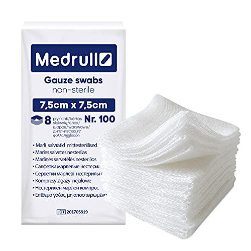 Medrull Tamponi di garza 100 pezzi – compresse 7,5 x 7,5 cm non sterili – 8 strati di garza – garza per ferite, garza in garza
