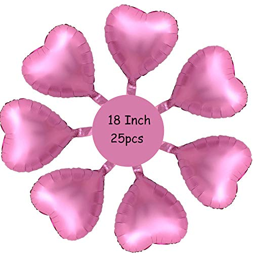 Gxhong 25 Piezas Globos de papel de aluminio, 18'' globos de corazón de Rosado Globos románticos de amor para cumpleaños, bodas, día de San Valentín, decoración de fiesta de Navidad (Rosado)