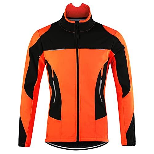 TDHLW Giacca Ciclismo Invernale da Uomo Impermeabile Traspirante Giacca Bici Donna Cappotto Termico in Pile Antivento Riflettente MTB Giacca Antipioggia MTB Cappotto,Arancia,L