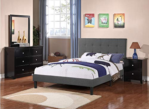 Infini Furnishings Upholstered Frame, Linen Tufted Comfy Bed with Upholstery Headboard, Strong Wood Slats Platform, Full Size, Charcoal