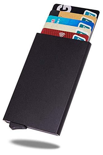 VOLAN スキミング RFID 防止 スライド式 カード ケース 薄型 クレジット カード入れ ホルダー メンズ レディース 最大9枚 収納 CARD CASE 6カラー (ブラック)