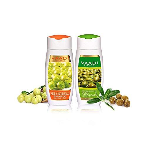 Vaadi Herbals Amla Shikakai mit Olivenhaarfall & Schadensbekämpfung Bio Shampoo und Spülung Set 110 ml X 2