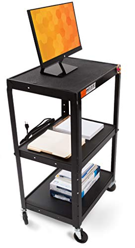 Line Leader AV Cart - Includes Height Adjustable Top Shelf - 15 ft Power Cord with Cord Management Included - Easy to Assemble (42 x 24 x 18 / Black)