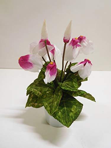 Passion MaDe Alpenveilchen Veilchen Kunstpflanze Kunst Pflanze Deko Dekopflanze Topfpflanze Kunstblume Blume künstlich unecht Topf 30 cm weiß pink 002101 getopft F69