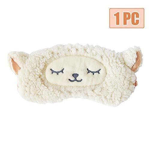 Pingxia Soft Schlafmaske 3D Niedlichen Tier 100{9264d907a0ff1c10fb9ee92d336dc2400c7247c153f375676f534d5243a38e54} Naturseide & Plüsch Ultra Weiche Augenabdeckung Einstellbare Reise Schlafaugenmaske for Kinder und Erwachsene Schlaflosigkeit