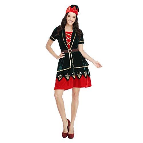 SUMTTER Weihnachten Kostüm Damen lustig Verkleidung Set Weihnachtskleid + Krönen Kopfschmuck Cosplay Kostüm