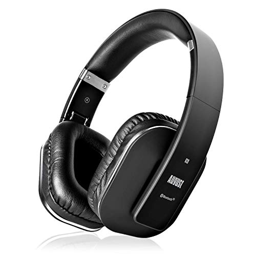 August EP650–Auriculares Bluetooth Inalámbrico–Auriculares Diadema Casco Plegable-Sonido Estéreo Bass Rich-Auriculares Orejeras Cómodas con NFC y aptX,Color Negro