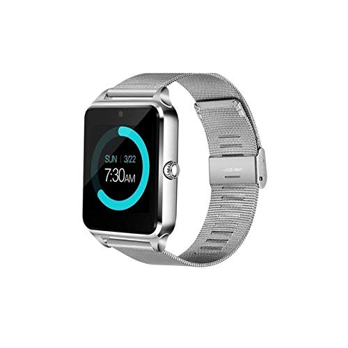 Smart Watch Women LED Touch Screen Bluetooth Sport Music Multifunction Steel strap Smartwatch Clock Women watch, Silver