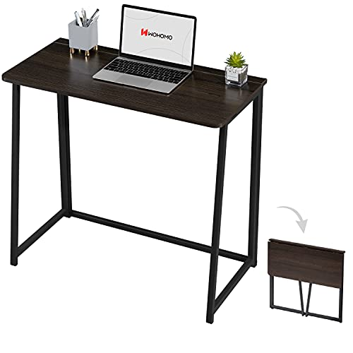 WOHOMO Small Desk, Folding Computer Desk 31.5 Inch for Study Space Saver Portable Desk Industrial Writing Workstation for Home Office,Walnut