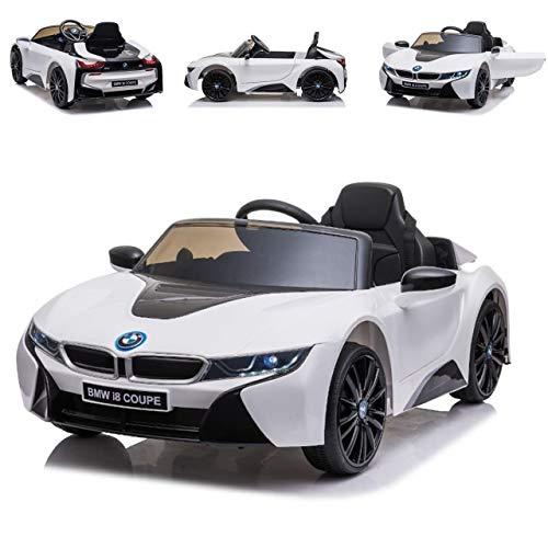 ES-TOYS Auto elettrica Bambini BMW I8 Sedile Pelle Pneumatici in Eva Telecomando