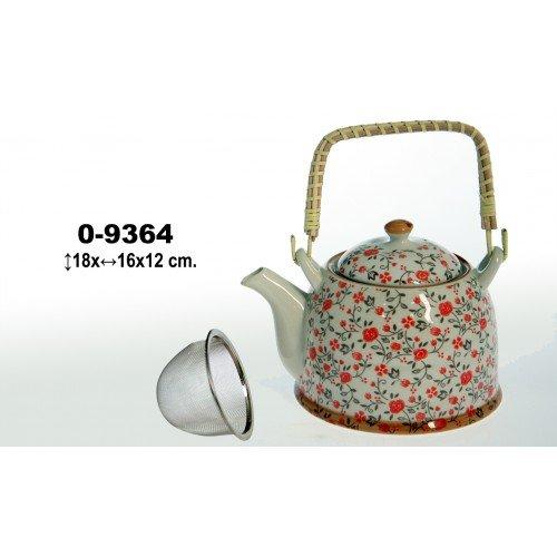 Tetera ceramica 500 ml con asa mimbre