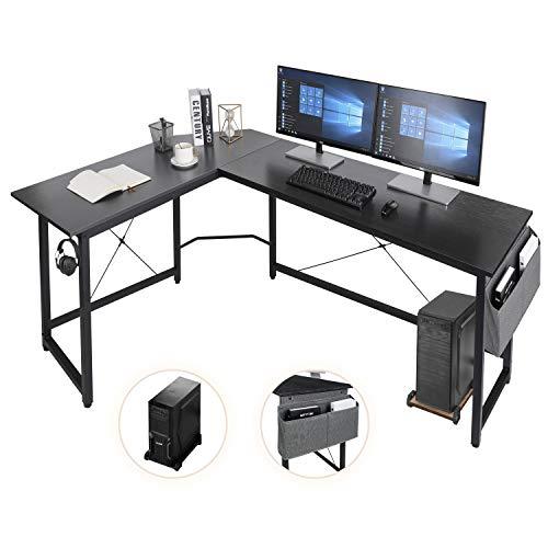 AuAg L-förmiger Schreibtisch,167cm L-Form Computertisch mit Aufbewahrungstasche und Haken, Eckschreibtisch Stabiler PC Laptop-Tisch, Größerer Workstation Gaming-Schreibtisch (Schwarz)