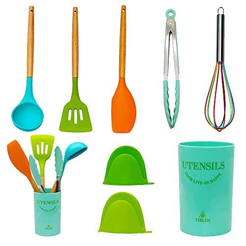 TIBLEN 8 pcs Silicone Kitchen Cooking Utensil Set, Non-stick Heat Resistant Cookware, BPA Free Non-Toxic Tools,Turner Tongs Ladle Spoon Whisk, Dishwasher Safe -Colorful