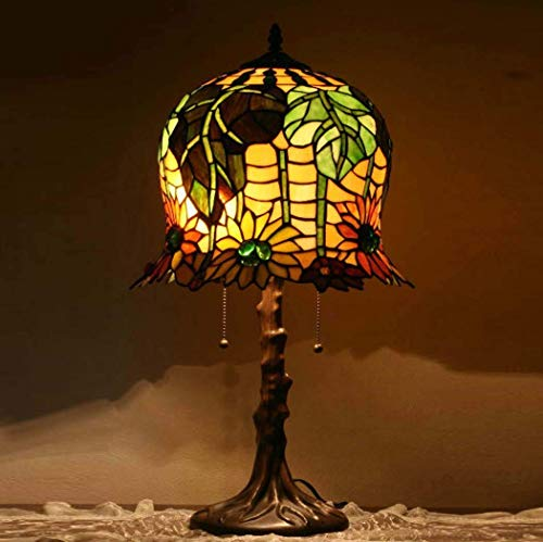 DIMPLEYA Lámparas de Mesa de Girasol de 35,5 cm, Estilo Tiffany, Pantalla de Cristal Manchado, zócalo de aleación, D35.5 cm H 65.5 cm Dormitorio