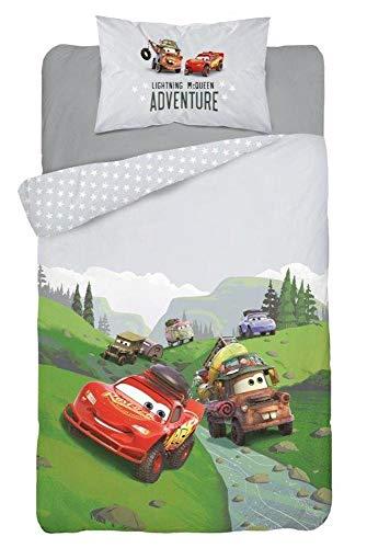 Cars Disney Baby Bettwäsche 100x135 cm, Kissen 40x60 cm 100% Baumwolle Grau Adventure