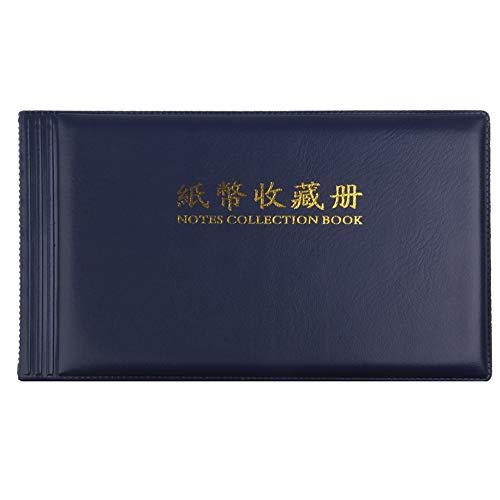 Álbum de dinero de papel con 20 bolsillos, página de billetes, sellos de efectivo, almacenamiento de billetes de protección de monedas, monedas, cuero, colección de libros de fotos
