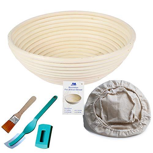Gärkörbchen rund, ø 22 cm, Höhe 8.5 cm Banneton Proof Korb für Brot und Teig [inkl. Pinsel] Proof Rising Rattan Schale(750g Teig) + Gratis Liner + Bäckermesser