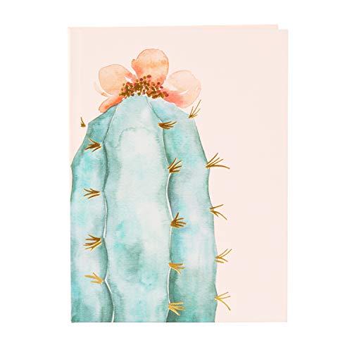 goldbuch Bullet Journal - Cuaderno DIN A5 con dibujo de niña de cactus con 200 páginas de color crema, con puntos, cuaderno encuadernado con estructura de lino, estampado dorado y marcapáginas