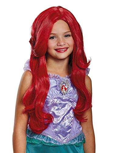 Disguise Disney Princess Ariel Little Mermaid Girls' Wig, RED