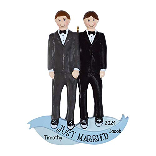 Personalized Christmas Ornaments 2017 Same Sex Marriage Men Family of 2 Romantic Cute Couple Holiday Tree Ornament Wedding Real Tulle Gay Grooms Parents Best Friends of Two