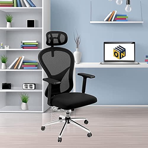 Oaknest Unboxing Furniture - Zeal High Back Mesh Office Chair with Adjustable Armrest (Color: Jet Black)