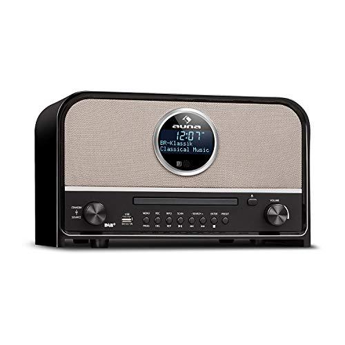 auna Columbia Retro Line DAB Bluetooth Radio (MP3- und CD-Player, Nostalgie-Radio, 60 Watt max, DAB+/UKW-Tuner, Radio-Wecker, Sleep-Timer, Stereo-AUX, USB, LCD-Display) schwarz