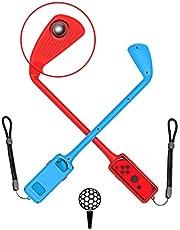 MAXKU Switch マリオゴルフ スーパーラッシュ 【最新リリース】 スイッチゴルフロッド Joy-Con用 マリオゴルフ ロッド2個セット 簡単装着 落下防止 ストラップ付き Mario Golf Super Rush対応 (レッド&ブルー)