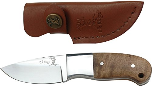 Elk Ridge - Outdoors Fixed Blade Knife - 5-in Overall, 440 Stainless Steel Mirror Polished Blade, Burl Wood Handle, Leather Sheath - Hunting, Camping, Survival - ER-111
