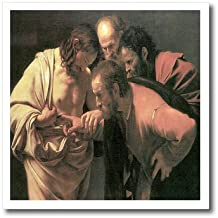 3dRose ht_130126_3 The Doubting of St. Thomas by Caravaggio-Iron on Heat Transfer for White Material, 10 by 10-Inch