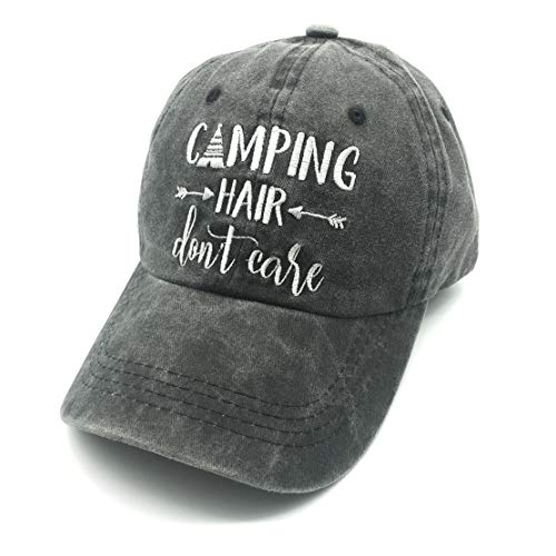 Waldeal Women's Embroidered Camping Hair Don't Care Washed Low Profile Dad Hat Black