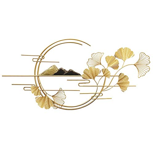 QINQIGBJ Metal Wall Sculpture Decor,New Chinese Styles Landscape Scenery Wall Decor With Golden Ginkgo Leaf Wrought Iron Wall Art, Light Luxury Wall Hanging (Size : 130x3x64cm)
