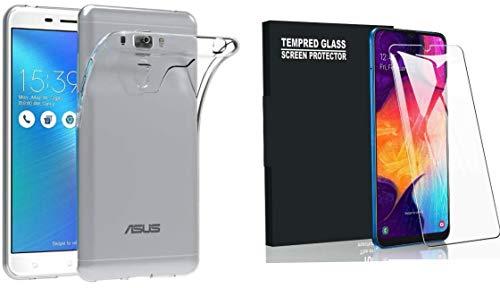 compatibile PER Asus Zenfone 3 Laser ZC551KL Z01BDC (5.5) Z01BS Z01BD Custodia protezione SOFT cover GEL SILICONE TPU morbida + PELLICOLA vetro TEMPERATO ANTIURTO 9H (Trasparente)