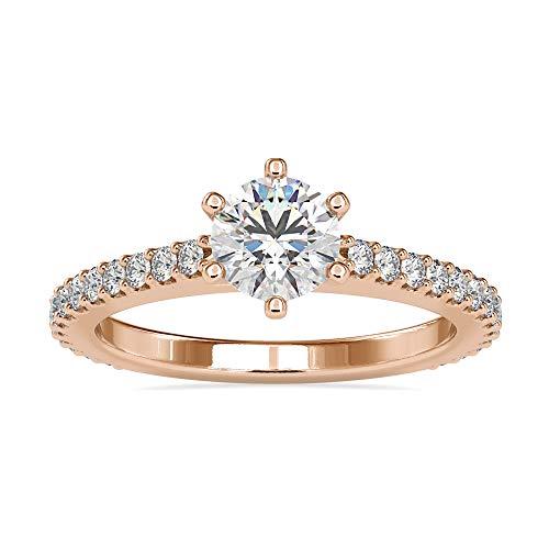 Diamondrensu Anillo de compromiso de oro macizo de 18 quilates de 6 mm de corte redondo de moissanita para mujer, anillo de boda de corte redondo para ella, Piedra preciosa. Metal precioso.,