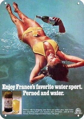 Laptopo 1976 PERNOD Replica Metal Sign - SEXY Busty Woman IN Bikini IN Pool